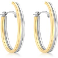 shop for IBB 9ct Gold Two Tone Double Oval Huggy Earrings, White Gold/Gold at Shopo
