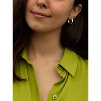 IBB 9ct White Gold Diamond Cut Creole Earrings, White Gold