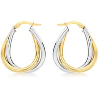 shop for IBB 9ct Gold Two Colour Twined Creole Earrings, White Gold/Gold at Shopo