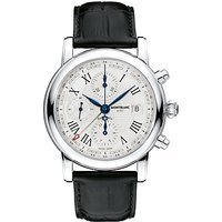 Montblanc 107113 Mens Star Chronograph UTC Automatic Alligator Strap Watch, Black/White
