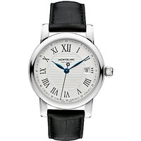 Montblanc 107114 Mens Star Date Automatic Alligator Leather Strap Watch, Black/Silver