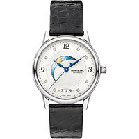 Montblanc 112512 Womens Bohme Day & Night Diamond Alligator Leather Strap Watch, Black/White