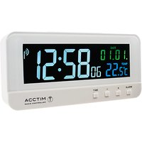 image-Acctim Radio Controlled LCD Digital Alarm Clock, White