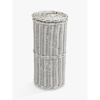 Croft Collection Rattan Toilet Roll Holder, Grey