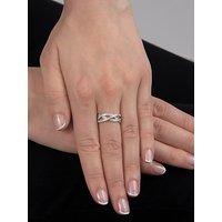 shop for E.W Adams 18ct White Gold Diamond Set Weave Ring at Shopo