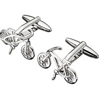 John Lewis & Partners Bike Cufflinks, Silver
