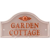 The House Nameplate Company Personalised Painted Aluminium Bridge House Sign, Flower Scroll Motif, S