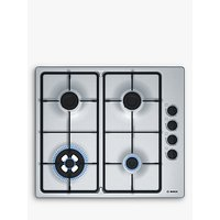 Bosch PBH6B5B60 Gas Hob, Brushed Steel
