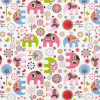 little home at John Lewis Abbey Elephant Furnishing Fabric, Pink