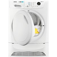 Zanussi ZDH8333PZ Heat Pump Tumble Dryer, 8kg Load, A+ Energy Rating, White