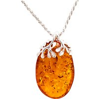 Be-Jewelled Sterling Silver Cognac Amber Leaves Pendant Necklace, Amber