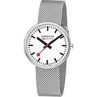 Mondaine A7633036211SBB Unisex Stainless Steel Bracelet Strap Watch, Silver/White