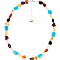 Be-Jewelled Sterling Silver Baltic Amber Bead Necklace, Amber
