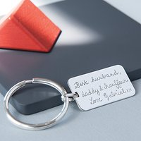 Merci Maman Personalised Sterling Silver Dog Tag Keyring, Silver