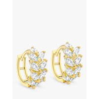 shop for IBB 9ct Yellow Gold Leaf Cluster Huggy Hoop Earrings, Gold at Shopo