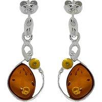 Goldmajor Sterling Silver Bi-Colour Amber Drop Earrings, Amber