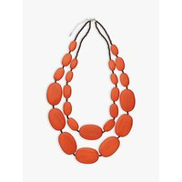 shop for One Button Large Double Row Pebble Necklace, Burnt Orange at Shopo