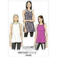 Vogue Very Easy Womens Sleeveless Top Sewing Pattern, 9109