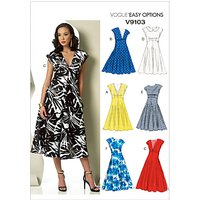 Vogue Womens Cap Sleeve Midi Dress Sewing Pattern, 9103