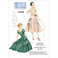 Vogue Womens Vintage Dress and Belt Sewing Pattern, 9106