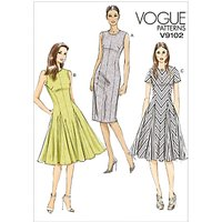 Vogue Womens Tailored Knee Length Dress Sewing Pattern, 9102