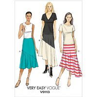 Vogue Womens Panel A-Line Skirt Sewing Pattern, 9113