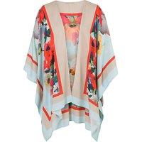 Chesca Large Floral Print Kimono, Sky/Coral