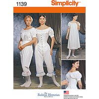 Simplicity Womens 19th Century Underwear Sewing Pattern, 1139
