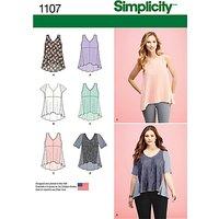 Simplicity Womens Flared Asymmetric Hem Top Sewing Pattern, 1107