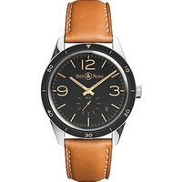 Bell & Ross BRV123-GH-ST/SCA Mens Vintage Original Automatic Leather Strap Watch, Brown/Black