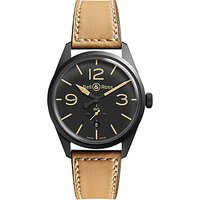 Bell & Ross BREV123-HERITAGE Mens Vintage Original Leather Strap Watch, Tan/Black
