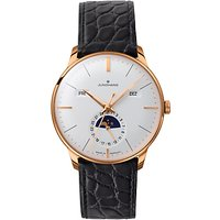 Junghans 027/7203.01 Men's Day Date Month Automatic Alligator Strap Watch, Black/White