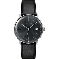 Junghans 041/4465.00 Men's Max Bill Date Leather Strap Watch, Black