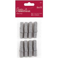 Docrafts Glitter Pegs, Silver, Pack of 8