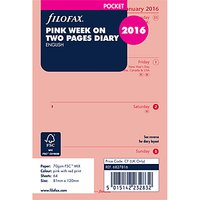 Filofax Week On 2 Page 2016 Diary Insert, Pocket, Pink