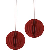 East of India Paper Baubles, Pack of 2, Red