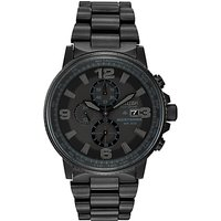 Citizen CA0295-58E Mens Nighthawk Chronograph Stainless Steel Bracelet Strap Watch, Black