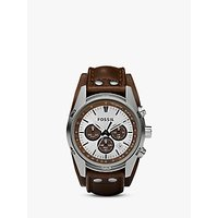 Fossil CH2565 Mens Coachman Chronograph Leather Strap Watch, Brown/White