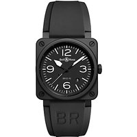 Bell & Ross BR0392-BL-CE Mens Rubber Strap Watch, Black