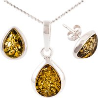 Be-Jewelled Sterling Silver Tear Drop Green Amber Pendant Necklace And Earrings Gift Set, Amber