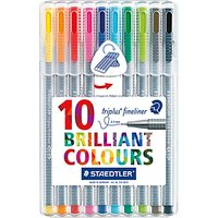 STAEDTLER Triplus Fineliner Colour Pens, Pack of 10