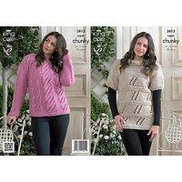 King Cole Ladies Sweater Knitting Pattern, 3815