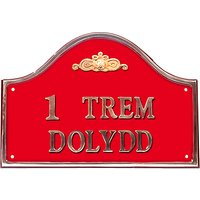 The House Nameplate Company Personalised Solid Brass Bridge House Sign, Flower Scroll Motif