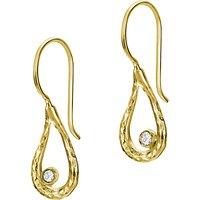 Dower & Hall 18ct Gold Vermeil Open Teardrop Drop Earrings, White Topaz
