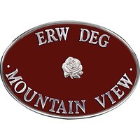 The House Nameplate Company Personalised Aluminium Oval House Sign, Rose Motif