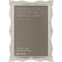 John Lewis Elsa Silver Plated Photo Frame, 4 x 6
