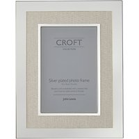 Croft Collection Silver Plated and Linen Photo Frame, 4 x 6