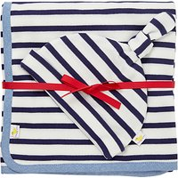 John Lewis Baby Blanket and Hat Set, Navy/White