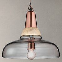 John Lewis Nalina Pendant Light, Clear/Wood