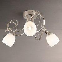 John Lewis Amara 3 Light Semi-Flush Light, Satin Nickel